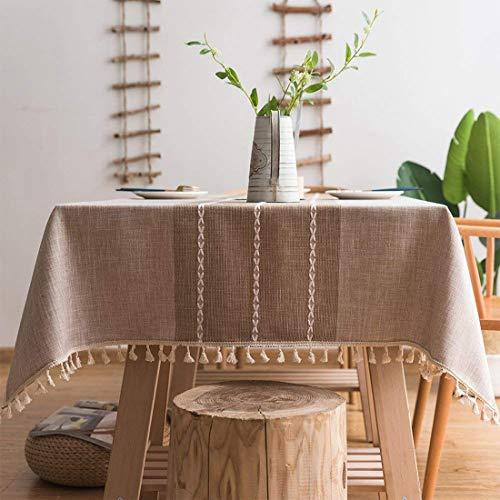 smiry Embroidery Tassel Tablecloth – Cotton Linen Dust-Proof Table Cover for Kitchen Dining Room Party Home Tabletop Decoration (Rectangle/Oblong, 55 x 102 Inch, Linen)