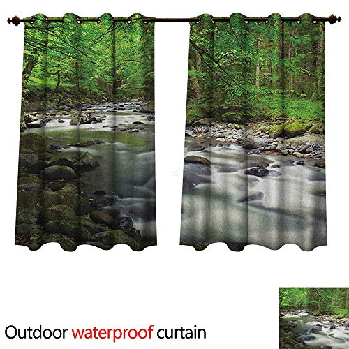 (Anshesix Forest Outdoor Ultraviolet Protective Curtains Rushing Riverbed with Rocks Trees Mountain Branches Shrubs Nature Scenery W63 x L72(160cm x 183cm))