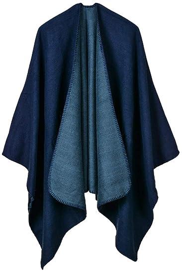 a68673e3105 Mochoose Poncho et Cape Tricot Châle Plaid Écharpe Couverture Wrap Tartan  Chaude Frange Hiver pour Femme