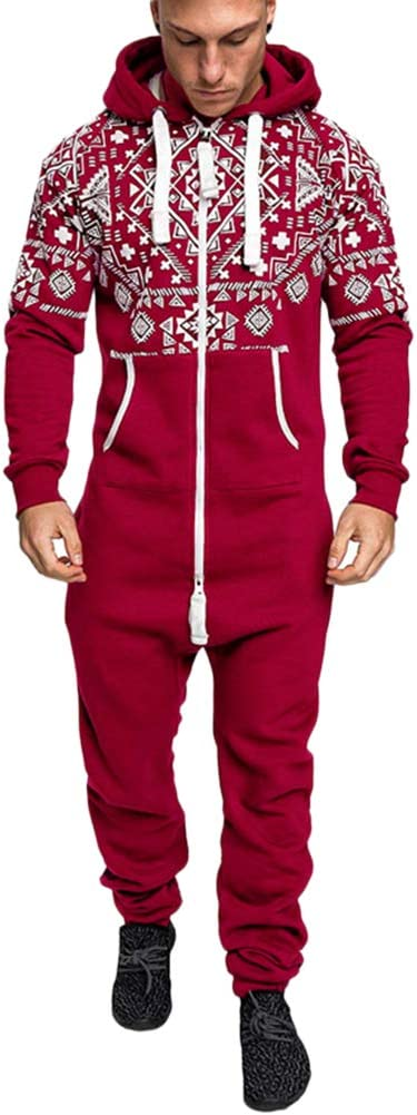 QitunC Hombres Impresi/ón Mono Todas en Uno Jumpsuit Pijama Cremallera Sudadera con Capucha