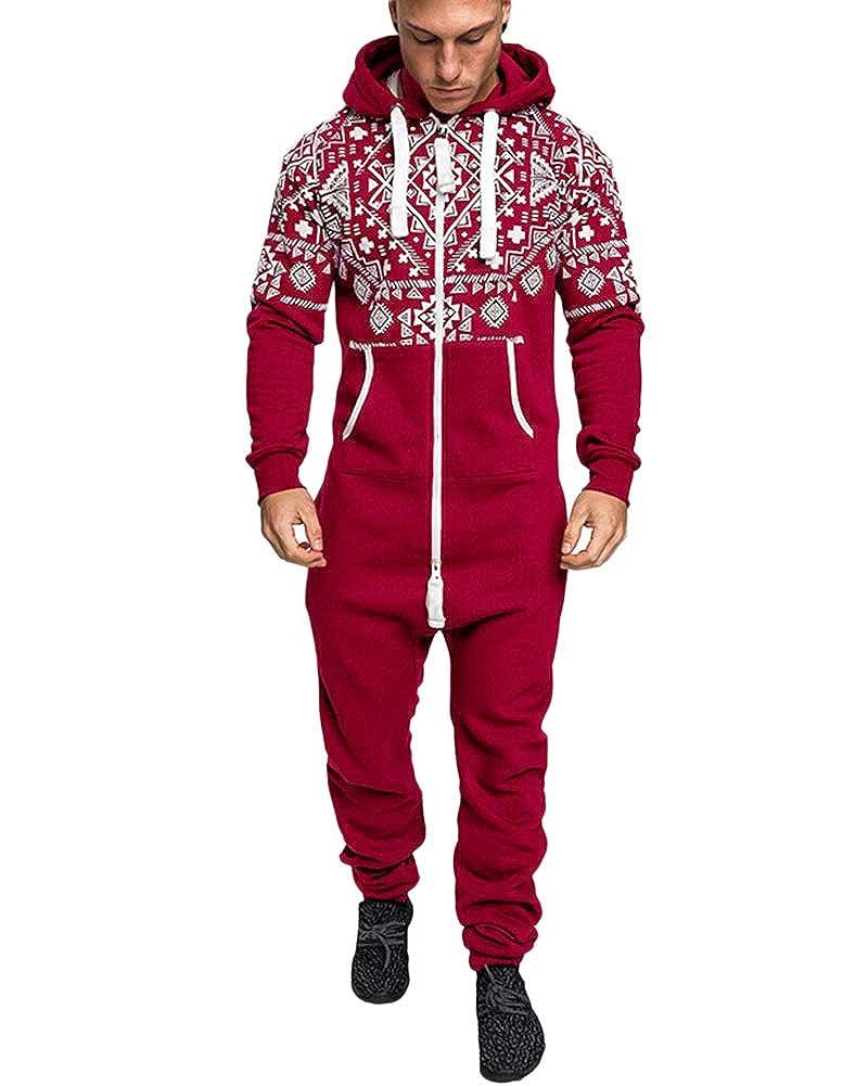 Hommes Grenouillè res Combinaison de Sport Ensembles Impression Zipper Hooded Tous dans Un Salopette Pyjama