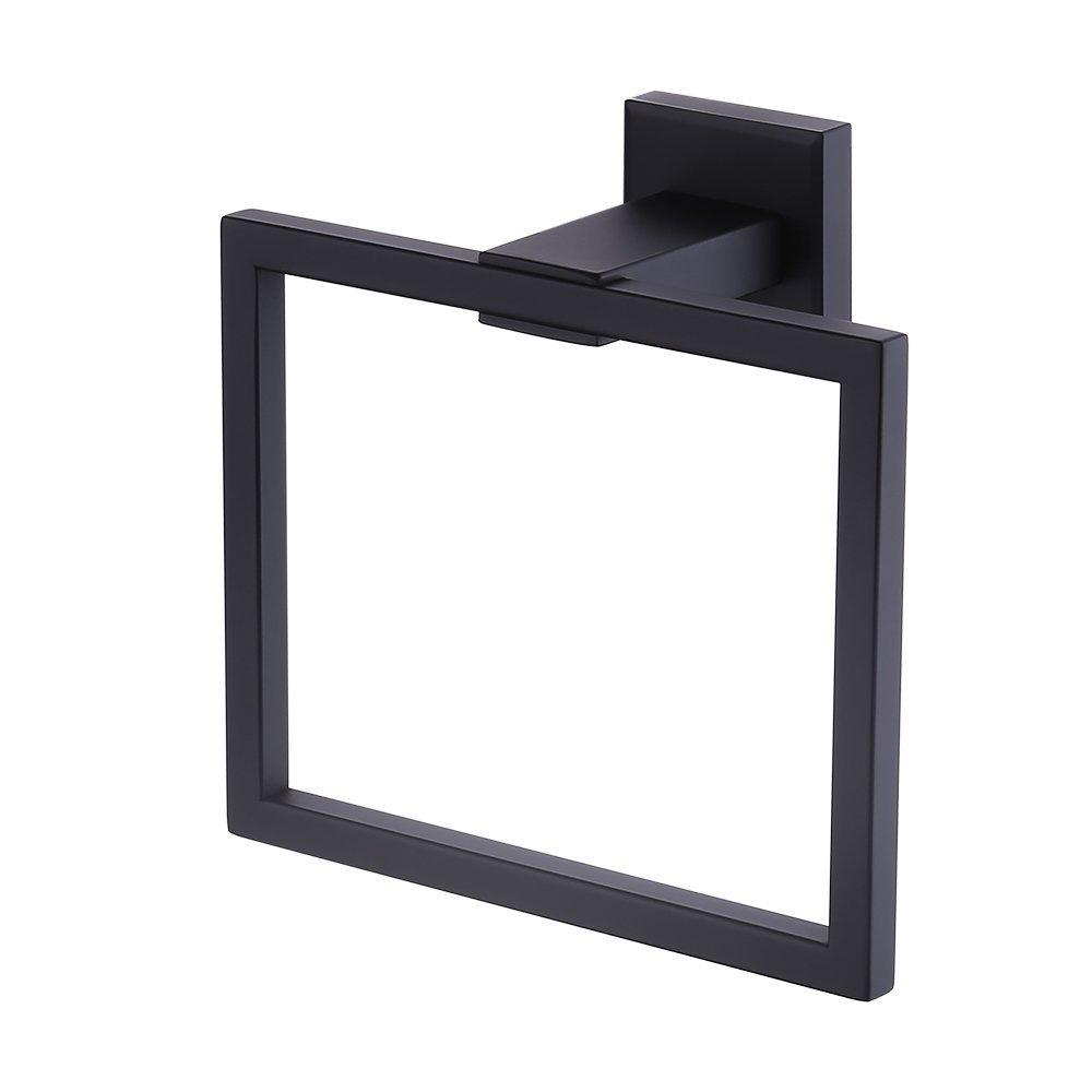 Greenspring Towel Ring Bathroom Shower Towel Hanger Holder Matte Black SUS 304 Stainless Steel Modern Square Style Wall Mount
