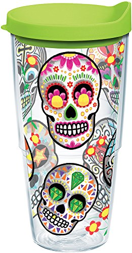 Tervis 1179857 Sugar Skulls Tumbler with Wrap and Lime Green