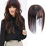 AISI BEAUTY 8'' Bob Style Human Hair Crown Topper with Bangs Clip in Top Hairpieces Closure for Women with Thinning Hair Gray Hair/Hair Loss (Base 3''X4'', Dark Brown)