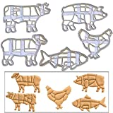 SET of 5 Meat Chart cookie cutters (Chicken, Cow, Fish, Lamb, Pig), 5 pcs, Butcher's Guide to Meat Chart, Ideal gift for kitchen chef and meat lovers
