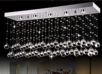 "Siljoy Rectangular Modern Crystal Chandelier Lighting for Living Room Dining Room Kitchen Island L23.6"" x W7.9"" x H15"""