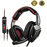 Sades Gaming Headset for PC & PS4 & Xbox One, Nintendo Switch,Mic Gamer Headphones with 3.5mm Wired Noise Isolation-Black&RED