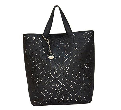Dkny Womens Shopper - DKNY DONNA KARAN BLACK PERFORATED LEATHER SHOPPER BAG