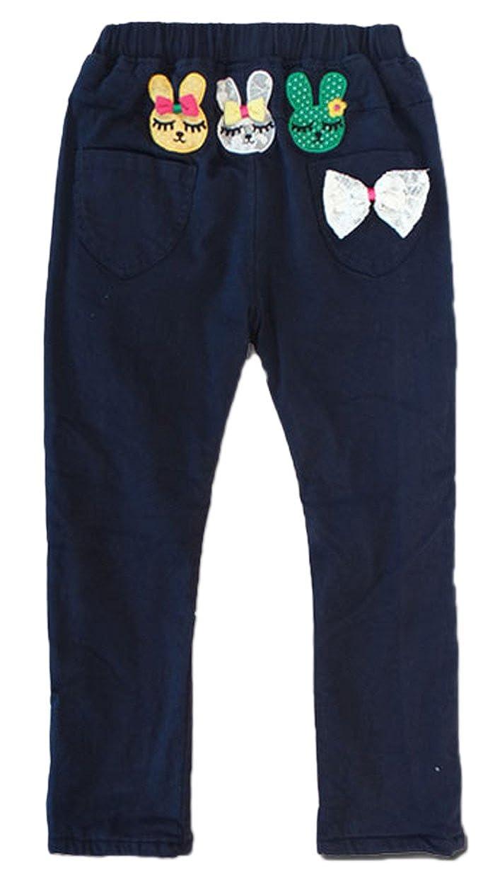 Only Faith Little Girls Plus Size Winter Fleece Cartoon Pants Dark Blue