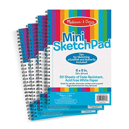 Melissa & Doug Mini-Sketch Pads, 4-Pack (Arts & Crafts, Fade-Resistant, Acid-Free White Paper, 50 Pages, 9' H x 6' W x 0.25' L, Great Gift for Girls and Boys - Best for 3, 4, 5 Year Olds and Up)
