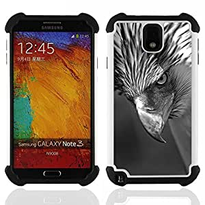 """SAMSUNG Galaxy Note 3 III / N9000 / N9005 - 3 en 1 impreso colorido de Altas Prestaciones PC Funda chaqueta Negro cubierta gel silicona suave (Intenso Hawk Pico Ojo Negro Blanco"""")"""