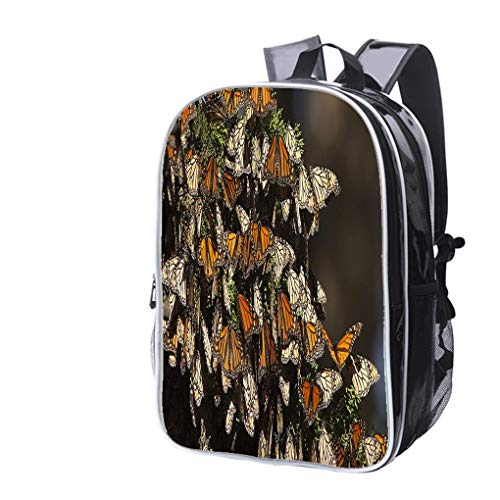 High-end Custom Laptop Backpack-Leisure Travel Backpack Migrating Monarch Butterflies in Monterey Bay California Horizontal Water Resistant-Anti Theft - Durable -Ultralight- -