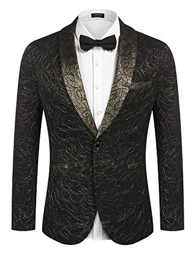 Black And Gold Suits - COOFANDY Men's Luxury Design Suit Jacket