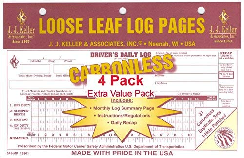 JJ Keller 19361 (545-MP) Loose-Leaf Drivers Daily Log Book w/ 7 and 8 Day Recap - pack of 4