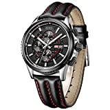 BUREI Mens Women Chronograph Quartz Watches with Analog Dial Stainless Steel Case Calfskin Leather and Stainless Steel Band