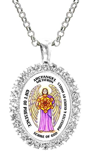 (Archangel Metatron Gift of Presence Scribe of God Cz Crystal Silver Necklace Pendant)