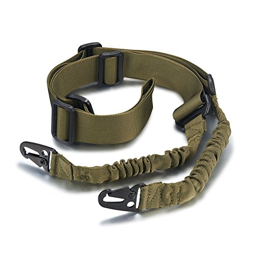 ACCMOR 2 Point Rifle Sling, Multi-Use Two point Gun Sling with Length Adjuster, Army Green Adjustable Traditional Slings Cord Shoulder Strap for Outdoor Sports, Hunting