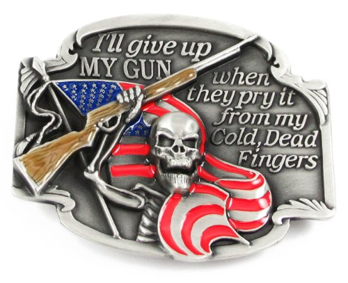Pewter Belt Buckle - I'll Give Up My Gun - Pewter Belt Buckle (Buckle Mens Belt Pewter)