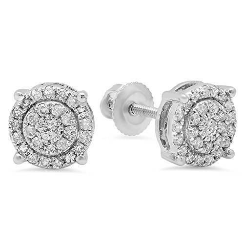 0.35 Carat (ctw) 10K White Gold Round White Diamond Ladies Circle Halo Stud Earrings (Earrings Diamond Gold White Circle)