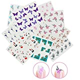Nicedeco 15 Sheets Nail Stickers Nail Tattoo 3D Nail Art Decal Water Transfers Decals Nail Tips Decorations Flowers/Kiss Lipstick/Long Tail Cat/Peacock Feather/Butterfly (Different Patterns)