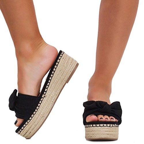 844 Sandales Noir Plateforme 8 Toocool Femme FR7aa