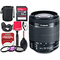 Canon EF-S 18–55mm f/3.5–5.6 IS STM Lens with 32GB Ultra Pro Speed Class 10 SDHC Memory Card + 3pc Filter Kit (UV-FLD-CPL) + Deluxe Sleeve + Celltime Microfiber Cleaning Cloth - International Version