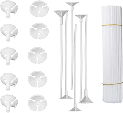 Caydo 50 Pieces Plastic White Balloon Sticks Holders and Cups for Party