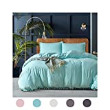 Moreover 3 Pieces Turquoise Bedding Turquoise Blue Duvet Cover Set Ball Fringe Pattern Design Soft Aqua Blue Bedding Sets King One Duvet Cover Two Pillow Shams (King, Turquoise)