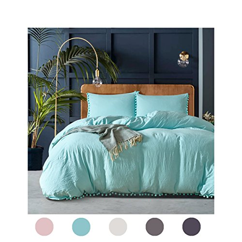 Moreover 2 Pieces Turquoise Bedding Blue Duvet Cover Set Ball Fringe Pattern Design Aqua Blue Bedding Set Twin One Duvet Cover One Ball Fringe Pillow Sham (Twin, Turquoise)