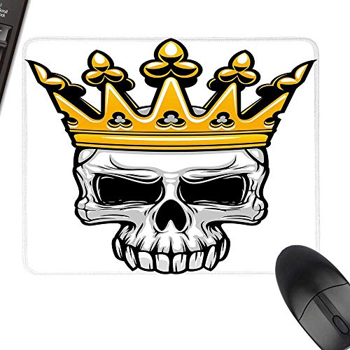 King Queen Size Waterproof Mousepad Hand Drawn Crowned Skull Cranium with Coronet Tiara Halloween Themed Image for Computers, Laptop, Office & Home 23.6