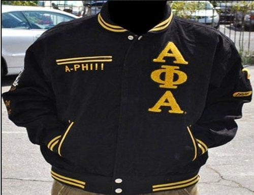 メンズブラックとゴールドAlpha Phi alphazipUp刺繍ジャケットサイズXXL B078C4QN91