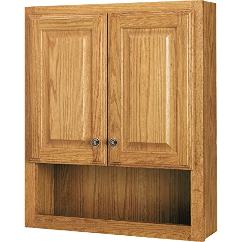 Bathroom Oak (Style Selections 23-In x 28-In Ready-To-Assemble 2 Door Bathroom Wall Wood Medicine Cabinet, Honey Oak)