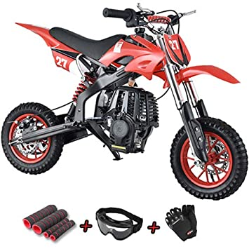 Goggle and Handgrip X-Pro Kids Dirt Bike Youth Dirt Pitbike 40cc Mini Gas Power Bike Off Road Ride-on Bikes with Gloves