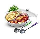 Yzakka Stainless Steel Shabu Hot Pot with Divider for Induction Cooktop Gas Stove, 34cm, Without Cover