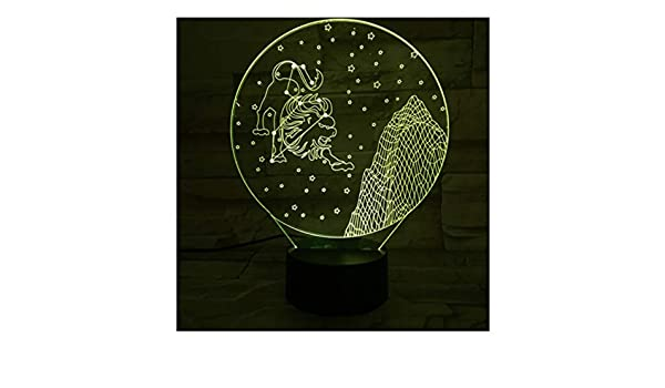 Western Signos del zodiaco Luz nocturna Led Sensor táctil 7 Cambio de color para niños Niños Bebé Luz nocturna Regalo Leo Lion Lámpara de mesa Escritorio: ...
