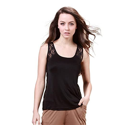 31254fca828d2 Forever Angel Women s 100% Silk Knitted Casual Camisole at Amazon ...