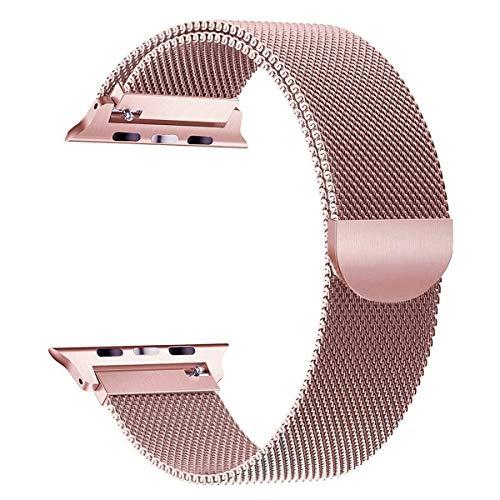 - RLTech Compatible Apple Watch Band 42mm 44mm Band, Stainless Steel Bracelet with Magnet Lock Replacement Wristband Replacement for Apple Watch Series 4 Series 3 Series 2 Series 1 (Rose Gold)