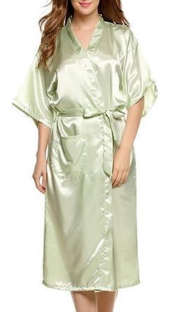 b913d1095 Gocgt Womens Sexy Pure Color Satin Short Silky Bathrobe Sleepwear Nightgown  Pajama with Belt Lingt Green XL  Amazon.co.uk  Clothing