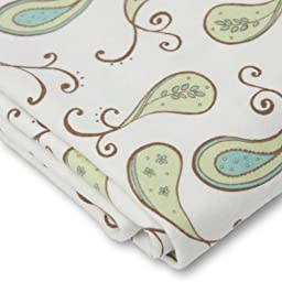 SwaddleDesigns Cotton Crib Sheet, Made in USA, Premium Cotton Flannel, Kiwi Paisley