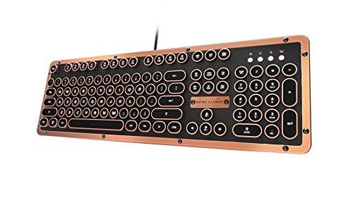 Azio MK-RETRO-L-03-US Retro Classic Artisan - USB Luxury Vintage Back lit Mechanical Keyboard (Blue Switch, Black Leather, Zinc Alloy Frame) - - Retro Classic