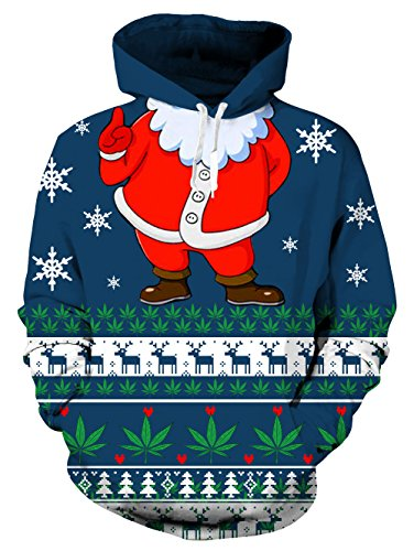 RAISEVERN Unisex Ugly Christmas Santa Claus Print Creative Make Up Fleece Pullover Hoodie Sweatshirt for Women S