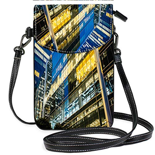 (Custom Trendy Shoulder Crossbody Bag Illuminated Office Buildings at Canary Wharf London at Night Casual, Lightweight Multi Pockets Crossbody Bag)