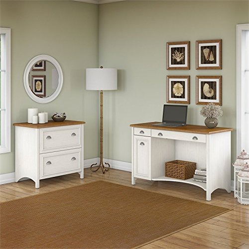 Bush Furniture Stanford Computer Desk with 2 Drawer Lateral File Cabinet in Antique White
