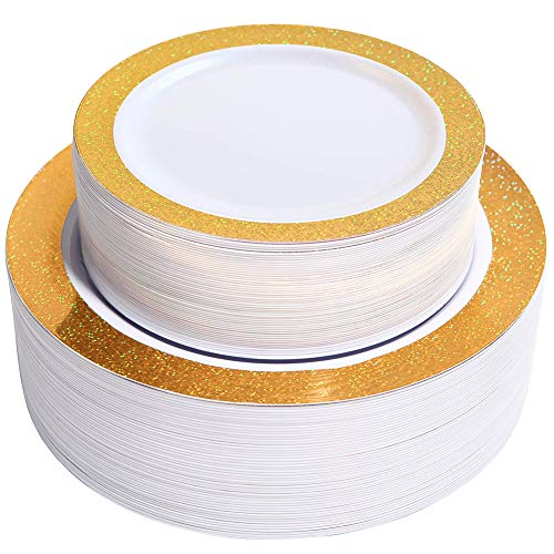 NERVURE 102 Premium Heavyweight Disposable Plastic Plates-Wedding and Party Dinnerware 51PCS 10.25 inch Dinner Plates 51PCS 7.5 inch Dessert Plates Gold Rim Pearl - Value Pack 102 - Dinnerware Pearl Gold