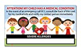 My Child Has Severe Allergies Medical Condition ICE Alert in Case of Emergency I.D. Identification Wallet Card Heavyweight 32 Pt. CardStock - Our Thickest