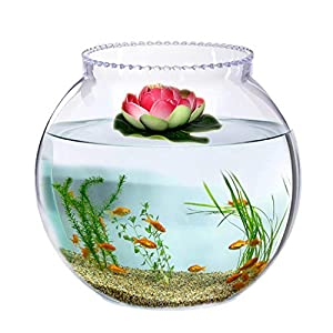 Jainsons Pet Products Round Transparent Crystal Glass Zig Zag Neck Bowl Clear Sphere Vase Fish Tank Water Jar with Lotus