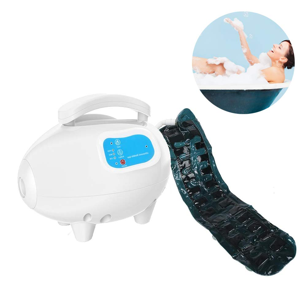 Bubble Bath Spa Massager for Massage Detox Motorized Air Pump & Waterproof Non-Slip Suction Cup Bottom Magnetic Mat with Remote Control Adjustable Bubble Settings(US Plug)