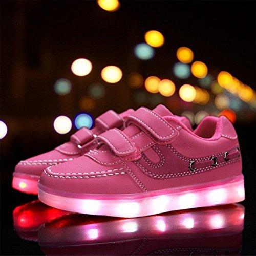 (Present:kleines Handtuch)JUNGLEST® Kid Jungen Mädchen USB Lade LED leuchten Sport Laufschuhe Flashing Sportlich Turn Rosa