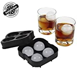 Image of Ice Ball Maker Flexible Silicone Sphere Ice Molds for Whiskey Drinking, FDA Approved Food-Grade by Bseen