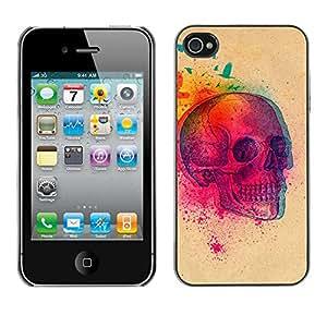 Eason Shop / Premium SLIM PC / Aliminium Casa Carcasa Funda Case Bandera Cover - Explosión colorida del cráneo de la mariposa Cráneo; - For Apple Iphone 4 / 4S